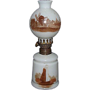 """REDUCED Miniature Oil Lamp with """"Sail Boat & Barn""""  with correct Ball Shade """"Wi"""