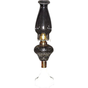 """REDUCED Rare Small Atterbury """"PRISM"""" Pattern Oil Lamp with Octagon Base & N.O.S. Bur"""
