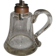 REDUCED Whale Oil Sparking Lamp with Gaffer's Signature applied Finger Loop ! Ca. 1860