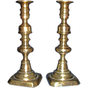 REDUCED Pair of Medium Brass Candlestick Holders with Stub Removers ! Ca 1860.