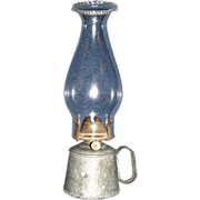 REDUCED Small Galvanized Metal Work Hand-Lamp with # 1 Pearl Top Chimney & Burner !  Ca. P