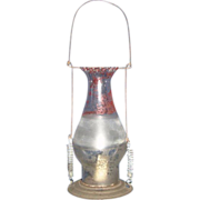 REDUCED Tin Candle Lantern with Parade Painted Rare Pedal Top Chimney !!!
