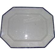 "REDUCED Large ""Blue Feathered Edge"" Platter with Embossed Grass Blades on a 16 1/2 b"