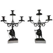 REDUCED Rare Pair of Civil War Period Triple Girandole Candle Holders !!! Circa 1845.
