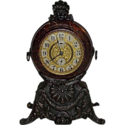 SOLD Awesome Decorator Bronzed & Faux Marble Wind-Up Clock Patented 1898 !!! Time Only, Alarm