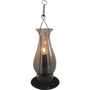 SOLD Candle Lantern with Snug fitting Glass Chimney & Hanging Chain Circa 1900.