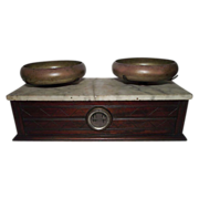 "REDUCED Apothecary / Drug Store ""Balance Scale"" with  Walnut Case & White Marble"