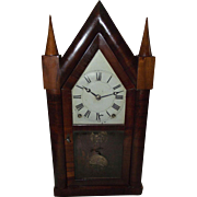 "REDUCED Rare Lyre Harp Frame ""Terry & Andrews"" 8 Day Steeple Clock with original"