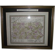 "REDUCED Early ""Canals & Railroads Map"" of Pennsylvania Printed Circa 1850-55 !!!"