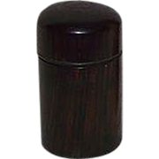 """REDUCED Civil War Period """"Rosewood Traveler's Ink Bottle"""" with internal Blown Glass"""