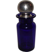 "REDUCED Cobalt Blue Blown Glass Dresser Jar & Stopper with ""Sterling"" Silver Cover C"