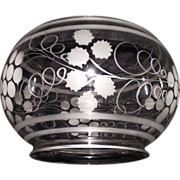 REDUCED Mint Blown & Etched Glass Shade with 5 inch base Fitter Circa 1880  !!!