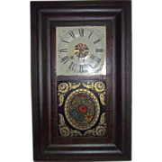"REDUCED Rare Reverse Painted ""Tole Pattern"" Glass on Seth Thomas Ogee Clock Ca. 1840"