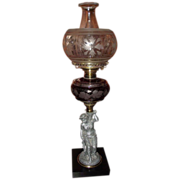 REDUCED Rare Figural Stem Oil Lamp with Red Flashed & Engraved Fount !!! Circa 1870's.