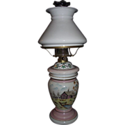 REDUCED Bristol Decorated Vase Oil Lamp with Shade !!! Circa 1900.