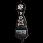REDUCED Rare Miniature Seth Thomas 8 Day Banjo Clock with Patriotic Reverse Painted Glass ...