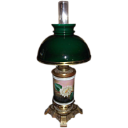 "REDUCED Rare ""Water Lily"" Vase Oil Lamp with Cased Green Glass Student Lamp Shade &a"