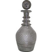 "REDUCED Rare Museum Quality ""Diamond Quilted "" Center Banded Pattern Glass Decanter"