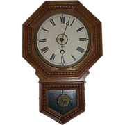 "REDUCED Gilbert ""Admiral"" Short Drop Octagon Top Schoolhouse Clock Circa 1912 Oak pa"