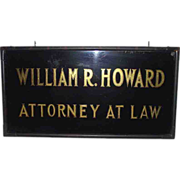 "REDUCED Gold Leaf & Reverse Painted Glass Trade Sign ""William R. Howard * Attorney At"