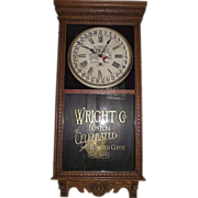 "SOLD Authentic ""Wright Company Boston Celebrated Coffee"" Advertising Calendar Clock"