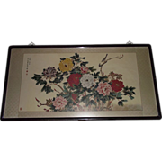 """REDUCED Large Chinese Framed Print """"The Jade Hall Peony"""" with a silky border, import"""