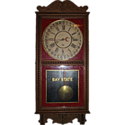 "REDUCED Solid Oak ""Bay State"" marked Store Regulator Calendar Clock with Lion Head C"