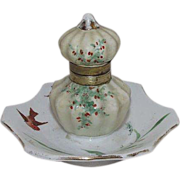 REDUCED Ladies Inkwell with Artist Hand Painted with Birds & Green Sprigs with Berries  !