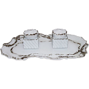 REDUCED Ladies Matching inkwells in Milk Glass with Tray Circa 1900 !