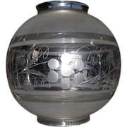 """REDUCED Engraved with Frosted Bands """"Hall Lamp Ball Shade"""" with 4 1/4 inch Top & Bot"""