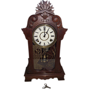 "REDUCED ""Eastlake Pattern"" Black Walnut Shelf Clock with Time & Strike !!! Ca. 1"