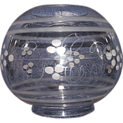 "REDUCED Blown Glass ""Ball Shade"" with Engraved DOTS & Frosted Bands with standar"