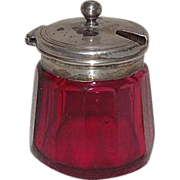 REDUCED Blown Cranberry Glass Condiments Jar with Cut & Fluted Sides !!!