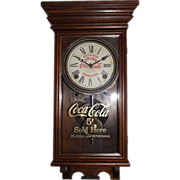 "SOLD RARE Miniature Salesman size ""Coca-Cola"" Walnut Advertising Clock with Time &am"