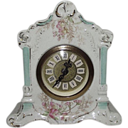 """SOLD Miniature Floral Decorated China Case Clock made by """"Mercedes in West Germany"""""""