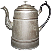REDUCED American Transitional Tinsmith produced Tea Pot made with Pre-Cast Iron Handle & S