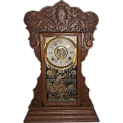"REDUCED Ansonia ""Capitol #44"" Model Steam Pressed Oak Shelf Clock with  8 Day Time,"