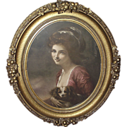 REDUCED Civil War Period Gilt Plaster Decorated Oval Frame with Print of Woman holding Dog ...