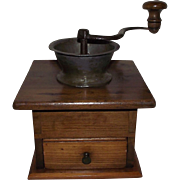 REDUCED Civil War Period Hand Dovetailed Pine Wood Coffee Grinder/Mill with Pewter Spout Circa