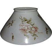REDUCED Antique 14 inch Blown White Glass Slant Shade with Rolled Top Lip and transfer Rose de