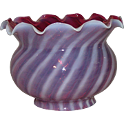 REDUCED Ruffled 4 inch Cranberry Shade with Optic White Overlayed Stripes !!!