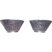 "REDUCED Matching Pair of acid etched ""Flowers"" Pattern Gas Shades with 4 inch base F"