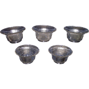 REDUCED Set of 5 Matching 4 inch Shades with Glimmering Silver Ribs Pattern Circa 1910 !!!