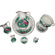 """Red Roses 7 Piece Washbowl & Pitcher Set, made by """"Anchor Pottery Co."""" Circa 1900-19"""