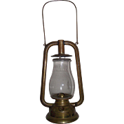 "REDUCED Rare Early ""Brass U.S. Tubular"" Dietz Model Lantern Complete with marked Glo"