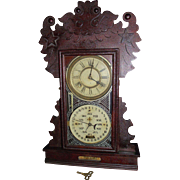 REDUCED Rare Feichtinger Calendar Clock with Original Sun Baked Finish Circa 1905 with Family