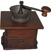 """REDUCED Signed """"Miller"""" Dovetailed Cherry Coffee Grinder/Mill with Pewter Spout & Or"""