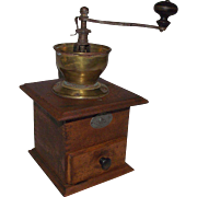"Belgian Coffee Grinder marked ""En Acier Forge"" with Brass Funnel Top Circa 1900."