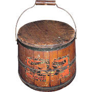 "REDUCED Wood Pail with Paper Label marked ""California Apricots"" Circa 1890 !!!"