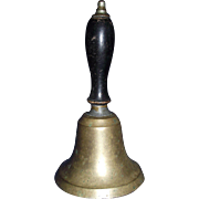 "REDUCED Teacher's Large ""Brass Hand Bell"" with Black Painted Hardwood Handle Circa 1"